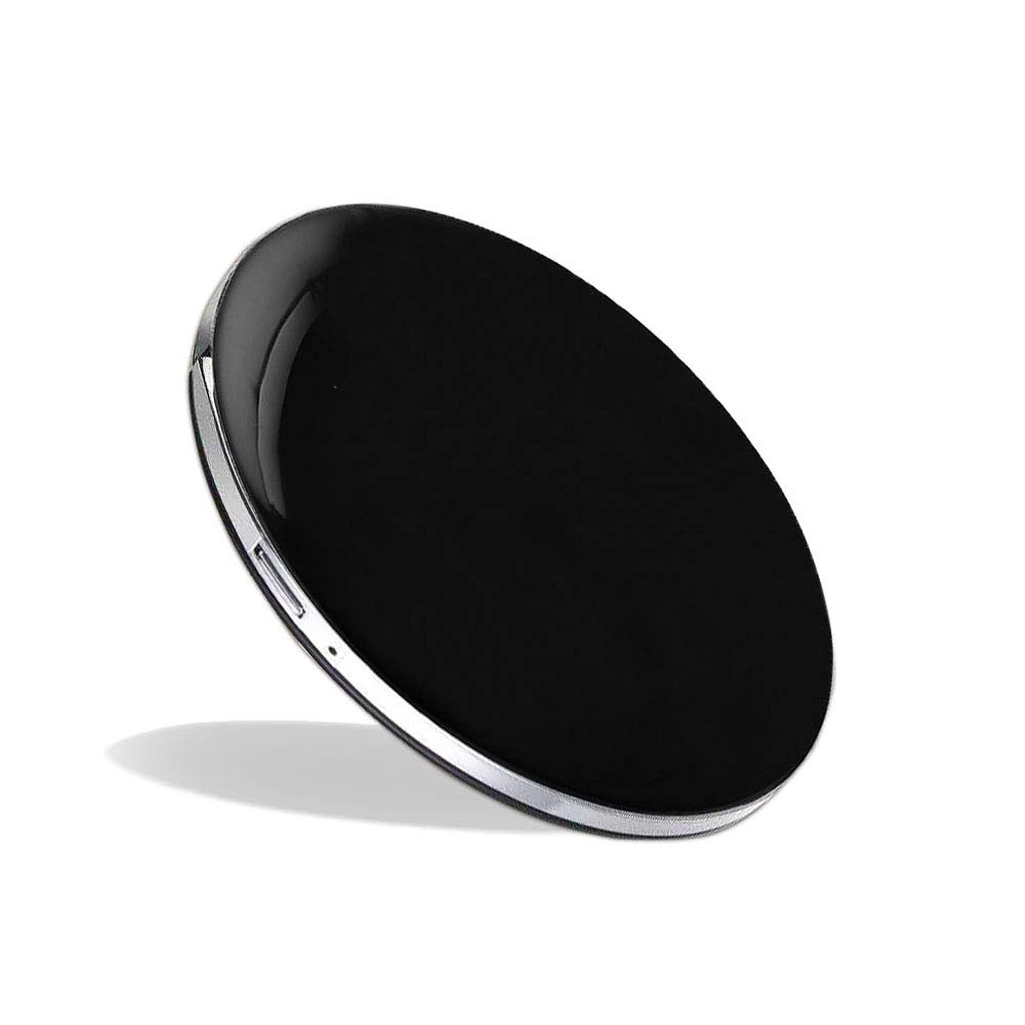 思い出させるアンビエント抱擁化粧鏡 LEDミラー コンパクトミラー ハンドミラー 円形ミラー 折りたたみ式 持ち運び便利 usb充電 軽量 3倍拡大鏡 明るさ調節可能 (ブラック)