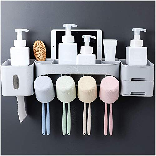 Toothbrush Holder Tissue Box Toothbrush Holder Toothpaste Stand Razor Drawer Wall Mounted Hanging Anti-Dust with Suction Cup Home Bathroom Vanity Countertop MUMUJIN (Size : 55.2X12.2CM)