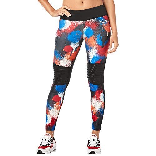Zumba Dance Leggings Estampados Pretina Ancha de Cintura Fitness Entrenamiento Mallas de Deporte de Mujer, Bold Black 0, XS