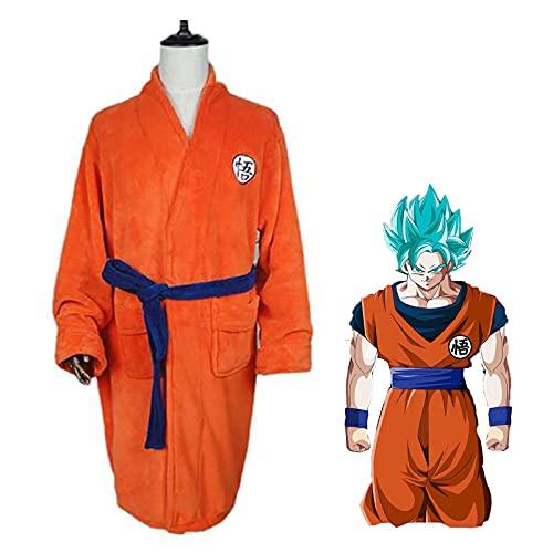 SHIXUE Anime Dragon Ball Goku Cosplay Disfraz Adulto Noche Bata de Baño Ropa de Dormir Pijamas Traje de Baño