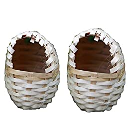 B Blesiya 2Pcs Natural Bamboo Bird Nest Birdhouses, Perfect for Feeding or Breeding, Garden Nature Art Craft Wedding Home Decoration – Egg Shaped, S & L