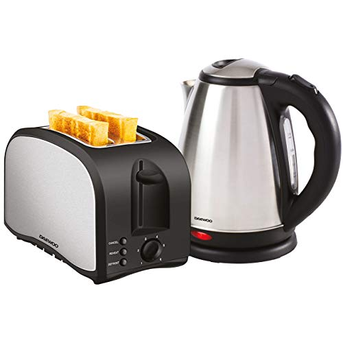 Daewoo Brushed Finish Stainless Steel Kettle & Toaster Twin Pack, 2 Slice Toaster with Cancel Reheat & Defrost Functions