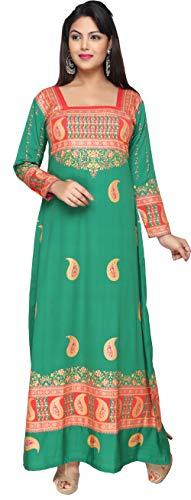 Printed Evening Kaftan Women's Long Dress Abayas (Green, M)