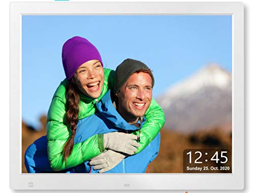 Cytem 15 Zoll Digitaler Bilderrahmen | 4:3 HD-IPS Display (1024x720) | Bewegungssensor | Transparente Datum-Uhr | korrekte Bilddrehung und Größenanpassung | Gemischte Diaschau | min.10.000 Fotos | Si.