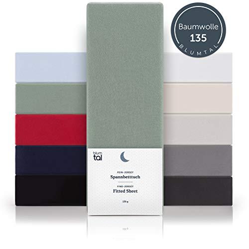 Blumtal Basics Spannbettlaken 180x200cm - 100% Baumwolle Bettlaken, bis 20cm Matratzenhöhe, Sommergrün