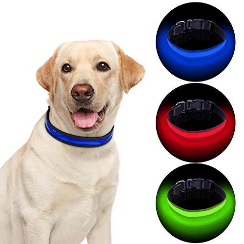 Grsta Collar LED Perro ,USB Recargable Collar Perros luz Seguro 3 Modos,Longitud Ajustable Collar LED para Perros Pequeños/Medianos/Grandes