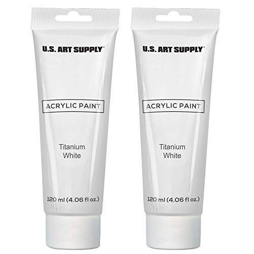 Twin-Pack-U.S. Art Supply 120ml Acrylic Artist Paint Tube White (2-Pack)