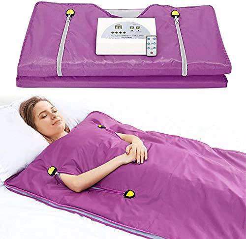 S SMAUTOP Sauna Manta para perder Peso 2 Zonas Digital Infrarrojo Lejano (FIR) Sauna de Calor Manta Adelgazar Terapia Desintoxicación Antienvejecimiento Cuerpo Máquina Belleza (Púrpura)