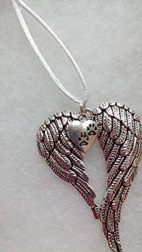 Pet Memorial Guardian Angel Wings with Pawprint Christmas Ornament In Memory Sympathy Gift