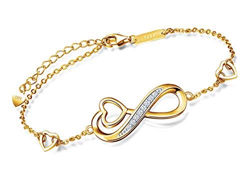 *Beforya Paris* - Infinity Resina - Pulsera ajustable - Con Swarovski Elements Zirconia - De plata 925 / chapado en oro de 24 K - Preciosa pulsera para mujer con caja de regalo.