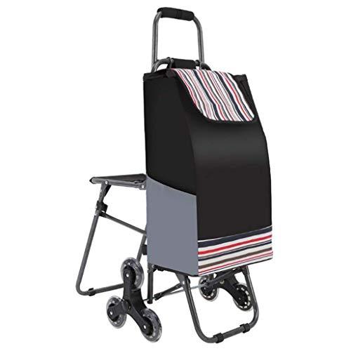 PXY Vieja Carrito de la Compra Trolley Escalada Escalera de la Compra Carrito de la Compra Supermercado Compras para Los Ancianos, Puede Sentarse con la Barra de Taburete de Asiento,Negro