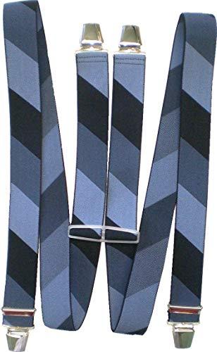 Metal Rock Hosenträger Herkules Braces H-Form 4 Clips 3,5cm Breite Diagonale Streifen MADE IN GERMANY (blau/jeansblau/schwarz)