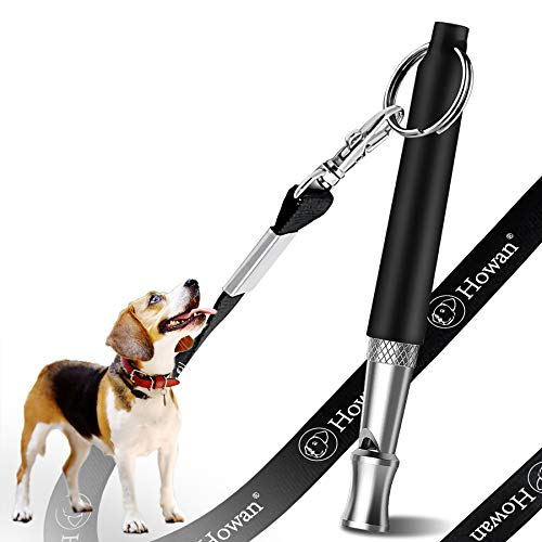 dog whistle with adjustable frequencies Howan Dog Training Whistle to Stop Barking, Professional Dogs Whistles- Trasonic Silent Dog Whistle Adjustable Frequencies, Dog Whistle for Recall Training Include Free Black Strap Lanya (ⅢBlack)