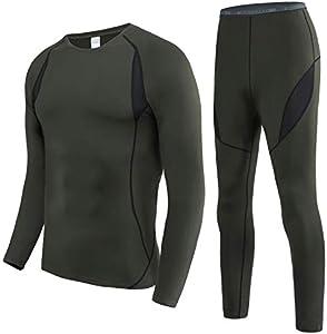 HAINES Ropa Interior Térmica Esqui Hombre Ropa Térmica Interior para Running Montaña Ciclismo Fitness Verde Militar L