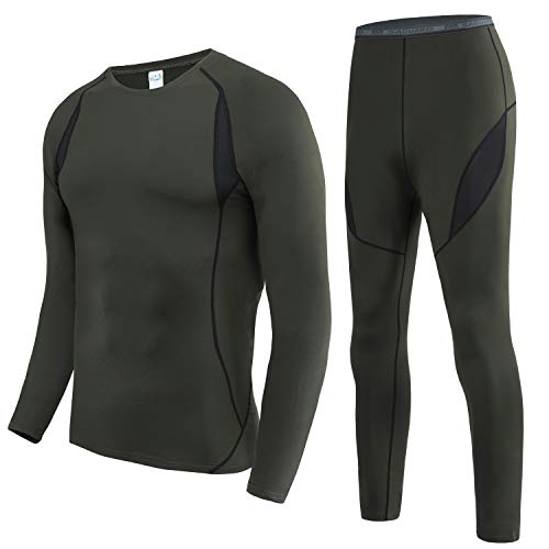 HAINES Ropa Interior Térmica Esqui Hombre Ropa Térmica Interior para Running Montaña Ciclismo Fitness Verde Militar XL
