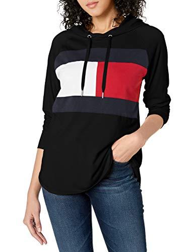 Tommy Hilfiger Women's Premium Performance Hooded Long Sleeve Tee, Black 01, X-Large