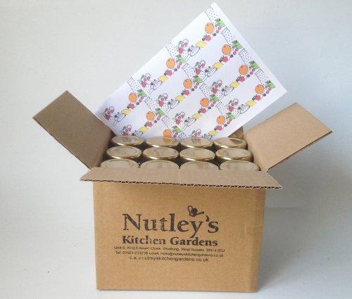 Nutley's 20 Hexagaonal 55ml jam Goud deksels + pot Doos + 24 Retro Labels H1