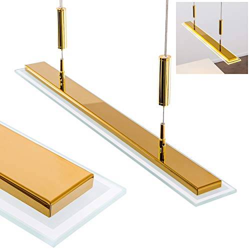 LED hanglamp in messing kleuren, hanglamp in hoogte verstelbaar tussen 93 cm en 150 cm, stijlvolle eetkamer verlichting met langwerpige lampenkap van gesatineerd glas, 2700 Kelvin, 1200 lumen
