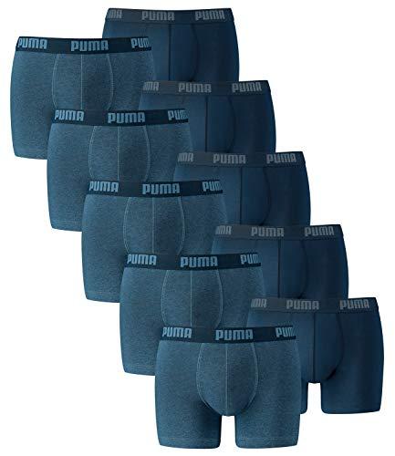 PUMA Herren Basic Boxer Boxershort Unterhose 10er Pack, Denim, L