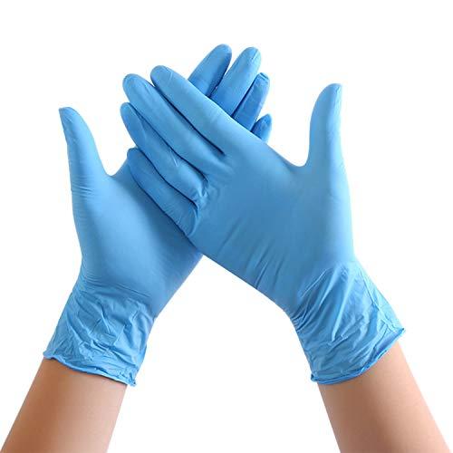 Libertepe 100 Stück Einweghandschuhe, Einweg Nitrilhandschuhe, Latexfrei Puderfrei Einmalhandschuhe Kunsthandschuhe für Küche Restaurant Kochen Industrial Blau Weiß Handschuhe (M, Blau)