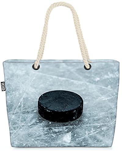VOID Eishockey Puck Sport Strandtasche Shopper 58x38x16cm 23L XXL Einkaufstasche Tasche Reisetasche Beach Bag