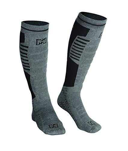 Mobile Warming Heated Socks, Tri-blend Construction, Grey/Black, Men 4-10/Women 6-11