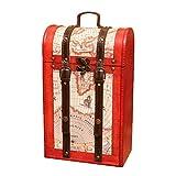 UPKOCH caja de regalo de vino de madera caja de caja de vino doble antigua cofre...