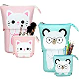 Outus 2 Pieces Transformer Stand Store Pencil Holder Canvas PU Cartoon Cute Telescopic Pencil Organizer Cosmetic Makeup Bag Stationery Pen Case Box with Zipper (White Cat and White Bear)