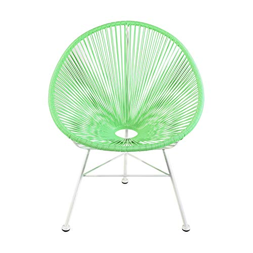 Retro Acapulco Lounge Relax Sessel Rahmen & Füße Pulverbeschichtet Indoor & Outdoor Mint GRÜN Gestell Weiss