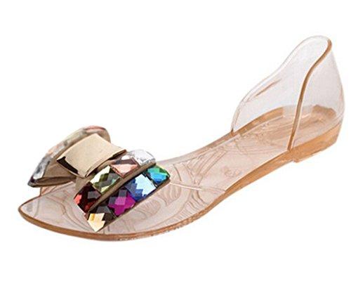 Minetom Dame Abend Beiläufige Flache Mode Bling Bowtie Gelee Slipper Sommer Sandalen Vorne offener Schuh Schuhe Gold EU 37
