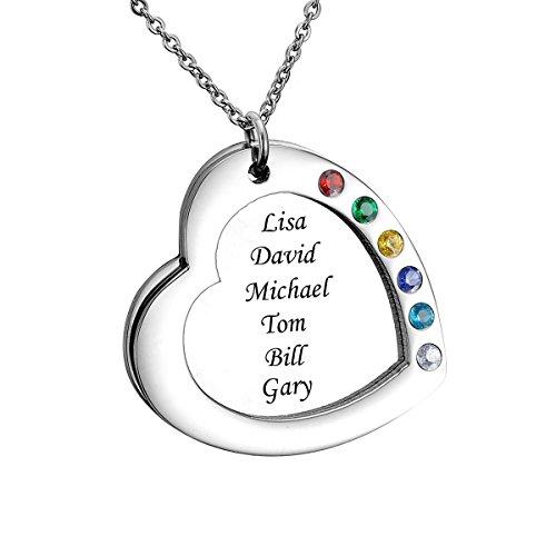 HooAMI Personalisierte Familienmitgliedernkette - Halskette mit Steinen - Geburtssteinkette - mit Gravur 2 Namen,3 Namen,4 Namen (6-Namen Silber)