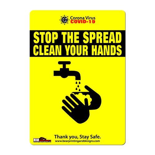 COVID-19 - Adesivo autoisolante per porta con scritta 'Stop the spread clean your hands s', formato A4, motivo: virus Corona