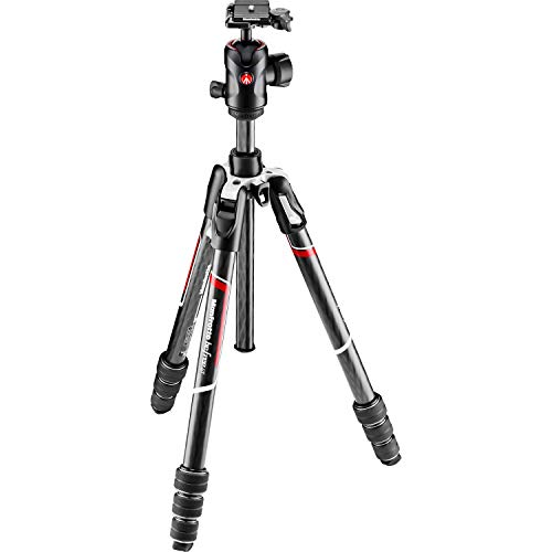 Manfrotto MKBFRTC4GT-BHUS Befree Advanced Travel Tripod, Twist Lock with Ball Head for Canon, Nikon, Sony, DSLR, CSC, Mirrorless, Up to 12 kg, Lightweight with Tripod Bag, Carbon, Black, Black/Silver