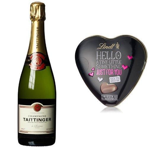 TaittingerBrutReserve Champagner(1x0.75 l) + Lindt & Sprüngli Hello, Herz, 2er Pack (2 x 45 g)