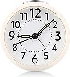 Vegena Despertador Analógico Sin Tintineo, Silencioso, Agujas Iluminadas,Despertador Fácil de Leer a Pilas, para el Hogar, Dormitorio,Oficina,Blanco