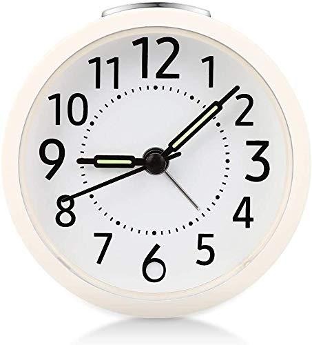 Vegena Analoge Wecker, Stiller Nicht tickender Wecker für Kinder mit Schlummerfunktion und Licht Funktionen Wecker, Wecker für Home Schlafzimmer Büro Weiß (Weiß)