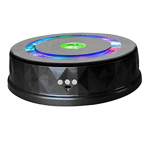 Hellery Plástico 360 ° Soporte de exhibición eléctrico Joyería Mesa giratoria Luces de Colores Placa giratoria Cosméticos Batería/USB Alimentado - Negro