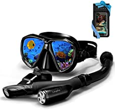 Laupha Snorkel Set Navi-EX | Anti-Fog Diving Goggles Leak-Proof Diving Mask | Innovative Three-Channel Drainage System Free Breathing Silicone Dry Snorkel | Diving Gear Kids Adults Beginners