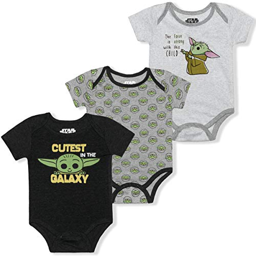 STAR WARS 3 Pack Short Sleeve Onesie, The Child Romper Set, Baby Yoda Bodysuit, Size 9M Gray