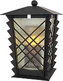 Farol para sepultura de acero con rejilla y cristal verde, incluye vela LED de 21 cm...