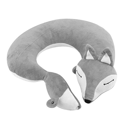 Fdit Fox Shape Travel Neck Pillow Soft Cotton Air U Shape Health Bolster Pillow for Home Office Travel Rest(Gray)