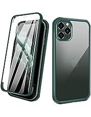 ZHIKE iPhone 11 Pro Max hoesje, full body Apple Phone hoesje afdekking voor- en achterkant gehard glas full screen cover eendelig design flip cover (groen)