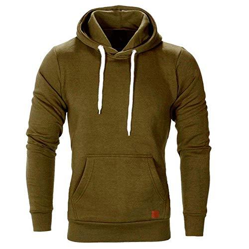 ZHOUJEE Men's Hooded Sweater, Personalized Thickening Fashion Sweatshirt; Size: S, M, L, XL, XXL, 3XL, 4XL, 5XL Army Green