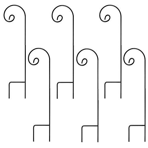 Ashman Shepherd's Hooks, Black, Set of 6 Made of Premium Metal for Hanging Solar Lights, Bird Feeders, Mason Jars, Plant Hangers, Flower Basket, Christmas Lights, Lanterns, Garden Stakes and Weddings