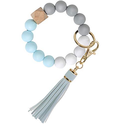 Keychain Wristlet, YUOROS Silicone Bead Key Ring Bracelet for Women (Blue)