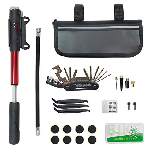 small size The FYTX Bicycle Repair Kit, Bicycle Tool Kit includes a 16-in-1 tool, a 120 psi mini bicycle pump, and a bicycle tire repair kit for mountain and racing bikes.