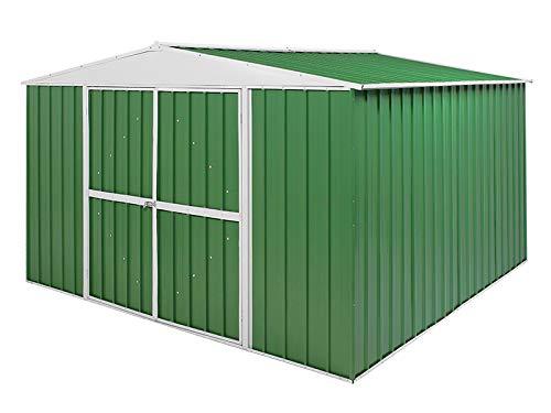 Notek Srl Box in Acciaio Zincato Casetta da Giardino in Lamiera 3.60 x 3.45 m x h2.12 m - 150 kg – 12,25 Metri Quadri - (Verde)