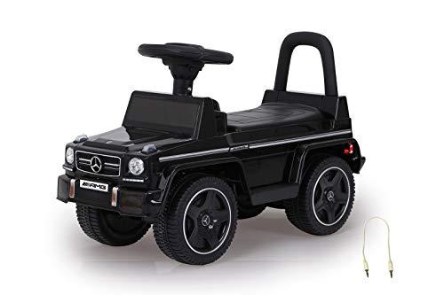 JAMARA 460405 - Rutscher Mercedes-Benz AMG G63 - Kippschutz, Kofferraum unter Sitzfläche, Schub-und Haltegriff, AUX-und USB-Anschluss, Hupe/Motorsound am Lenkrad, wertige Verarbeitung, schwarz