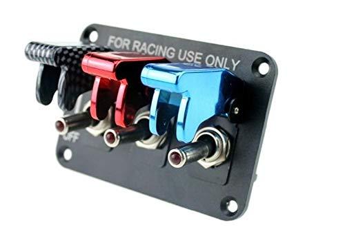 SHOUNAO DC12V 20A Panel de interruptores de conmutación de la Fibra de Carbono y el Panel de Interruptor de automóvil de Carreras Rojo y Azul de Carreras para Carreras de automóvil con Cable