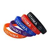5 Pack Asthma Silicone Medical Alert Emergency Bracelet Wristbands (Asthma)